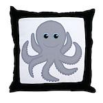 Octopus Gray Cartoon Throw Pillow