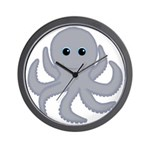 Octopus Gray Cartoon Wall Clock