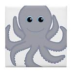 Octopus Gray Cartoon Tile Coaster