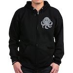 Octopus Gray Cartoon Zip Hoodie