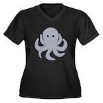 Octopus Gray Cartoon Plus Size T-Shirt