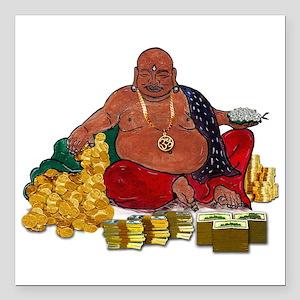 "Fat Money Buddha Square Car Magnet 3"" X 3&quo"