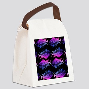 retro tuna pattern 4 Canvas Lunch Bag