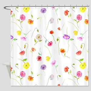 Watercolor Poppy Pattern Shower Curtain