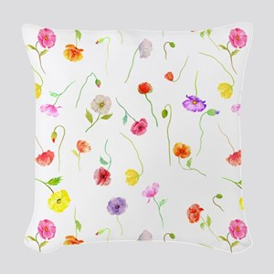 Watercolor Poppy Pattern Woven Throw Pillow