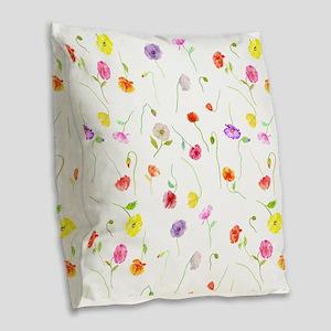 Watercolor Poppy Pattern Burlap Throw Pillow