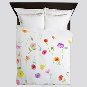 Watercolor Poppy Pattern Queen Duvet