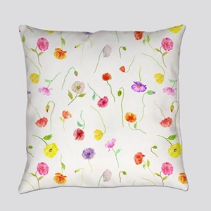 Watercolor Poppy Pattern Everyday Pillow