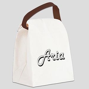 Aria Classic Retro Name Design Canvas Lunch Bag