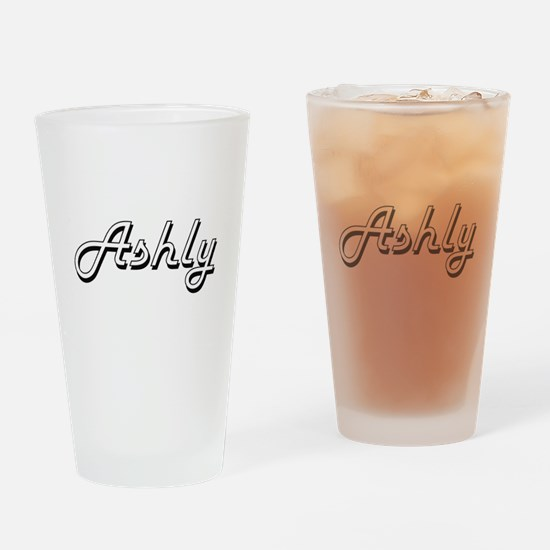 Ashly Classic Retro Name Design Drinking Glass