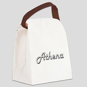 Athena Classic Retro Name Design Canvas Lunch Bag