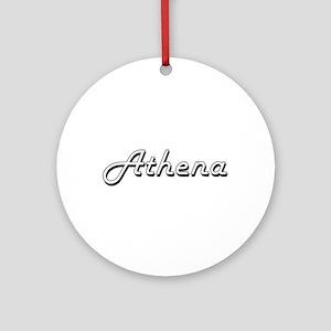 Athena Classic Retro Name Design Ornament (Round)