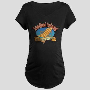 Sanibel Island Relax - Maternity Dark T-Shirt