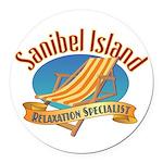 Sanibel Island Relax - Round Car Magnet