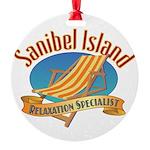 Sanibel Island Relax - Round Ornament
