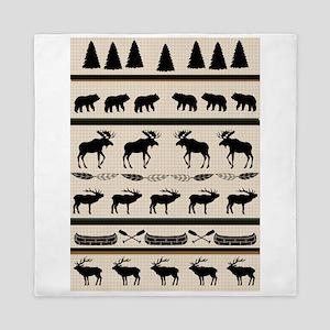 Mountain Cabin Blanket Design Queen Duvet