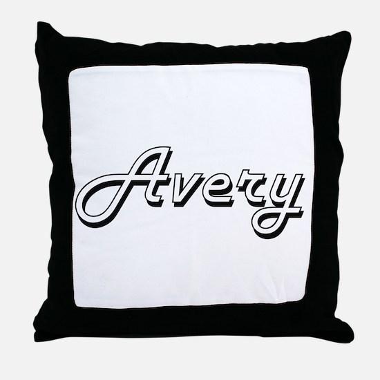 Avery Classic Retro Name Design Throw Pillow