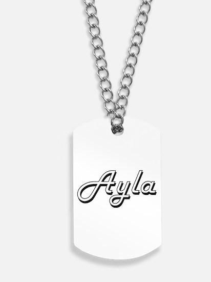 Ayla Classic Retro Name Design Dog Tags