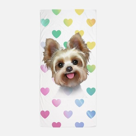 Yorkie Hearts Beach Towel