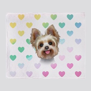 Yorkie Hearts Throw Blanket