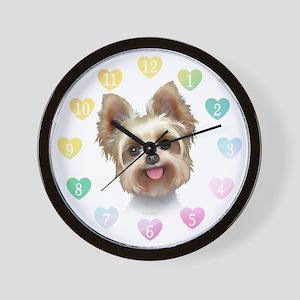 Yorkie Hearts Wall Clock
