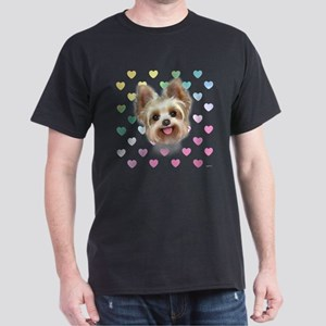 Yorkie Hearts Dark T-Shirt