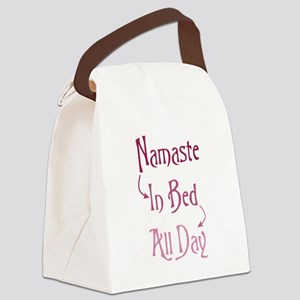 Namaste In Bed All Day Canvas Lunch Bag