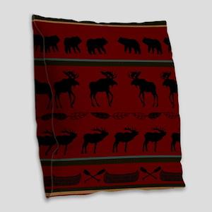 Mountain Cabin Design Burlap Throw Pillow