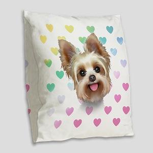 Yorkie Hearts Burlap Throw Pillow