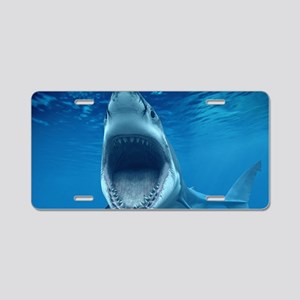 Big White Shark Jaws Aluminum License Plate