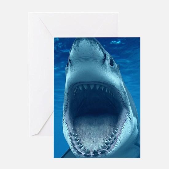 Big White Shark Jaws Greeting Cards