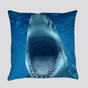 Big White Shark Jaws Everyday Pillow