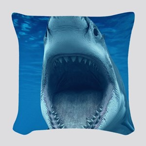 Big White Shark Jaws Woven Throw Pillow