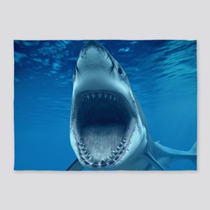 Big White Shark Jaws 5'x7'Area Rug