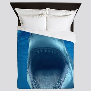 Big White Shark Jaws Queen Duvet