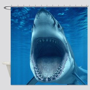 Big White Shark Jaws Shower Curtain