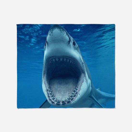 Big White Shark Jaws Throw Blanket