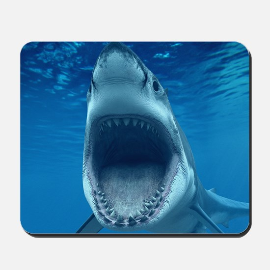 Big White Shark Jaws Mousepad