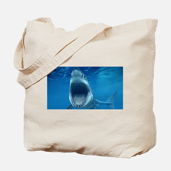 Big White Shark Jaws Tote Bag