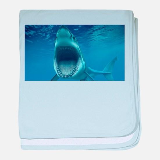 Big White Shark Jaws baby blanket