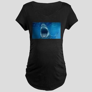 Big White Shark Jaws Maternity T-Shirt