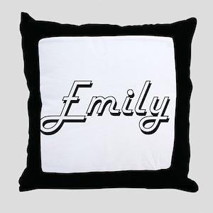 Emily Classic Retro Name Design Throw Pillow