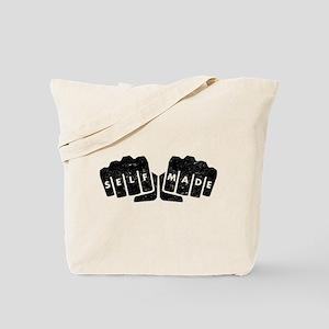 Self Made Knuckle Tattoo Distressed Tote Bag