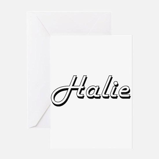 Halie Classic Retro Name Design Greeting Cards