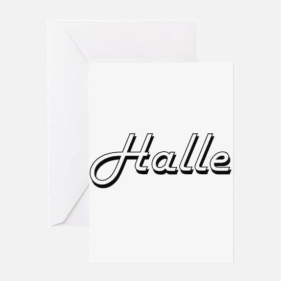 Halle Classic Retro Name Design Greeting Cards