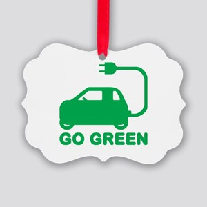 Go Green ~ Drive Electric Cars Picture Ornament