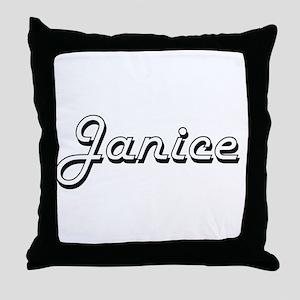 Janice Classic Retro Name Design Throw Pillow