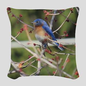 Red Bud Bluebird Woven Throw Pillow
