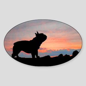 French Bulldog Sunset Oval Sticker