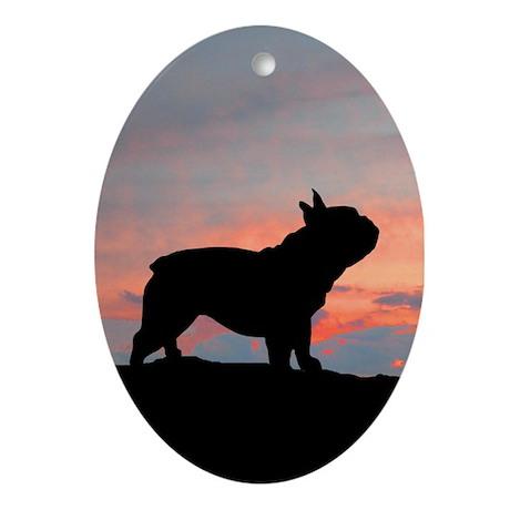 French Bulldog Sunset Oval Ornament